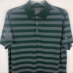 Nike Golf Dry Fit Polo Shirt Green Striped Mens L
